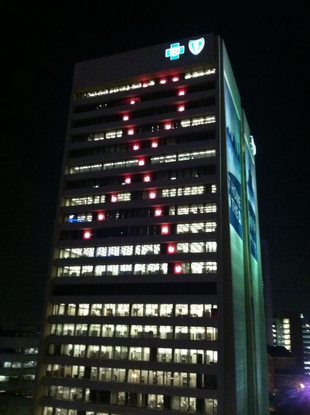 Blue Cross Blue Shield of Michigan Headquarters Building Breast Cancer Ribbon Display 2011